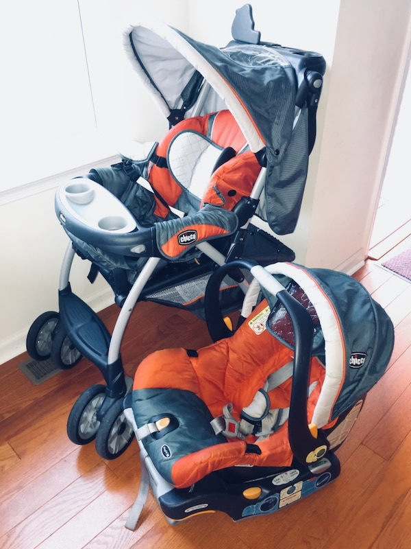 Used Chicco Baby Orange And Black Stroller With Car Seat For Sale In