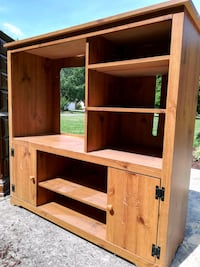 brown wooden TV hutch with cabinet Kernersville, 27284