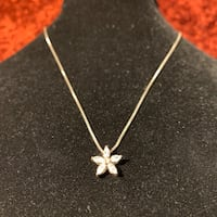 Vintage Sterling Silver Diamond Star Pendant with Italian Box Chain Ashburn, 20147
