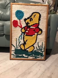 WINNIE THE POOH.   FRAMED EMBROIDERED 29x19 1/2 Cape Coral, 33904