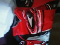 red, black, and white long sleeved shirt