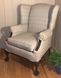 Vtg Chippendale Wingback Chair w Hand Carved Mahogany + Ball-Claw Feet
