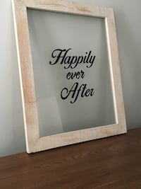 white wooden frame clear glass panel happily ever after print signage Reading, 01867