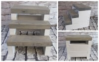 New Rustic Farmhouse Steps Gray stairs white base 3 step Mission