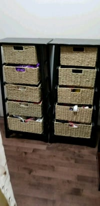 Stand with wicker drawers