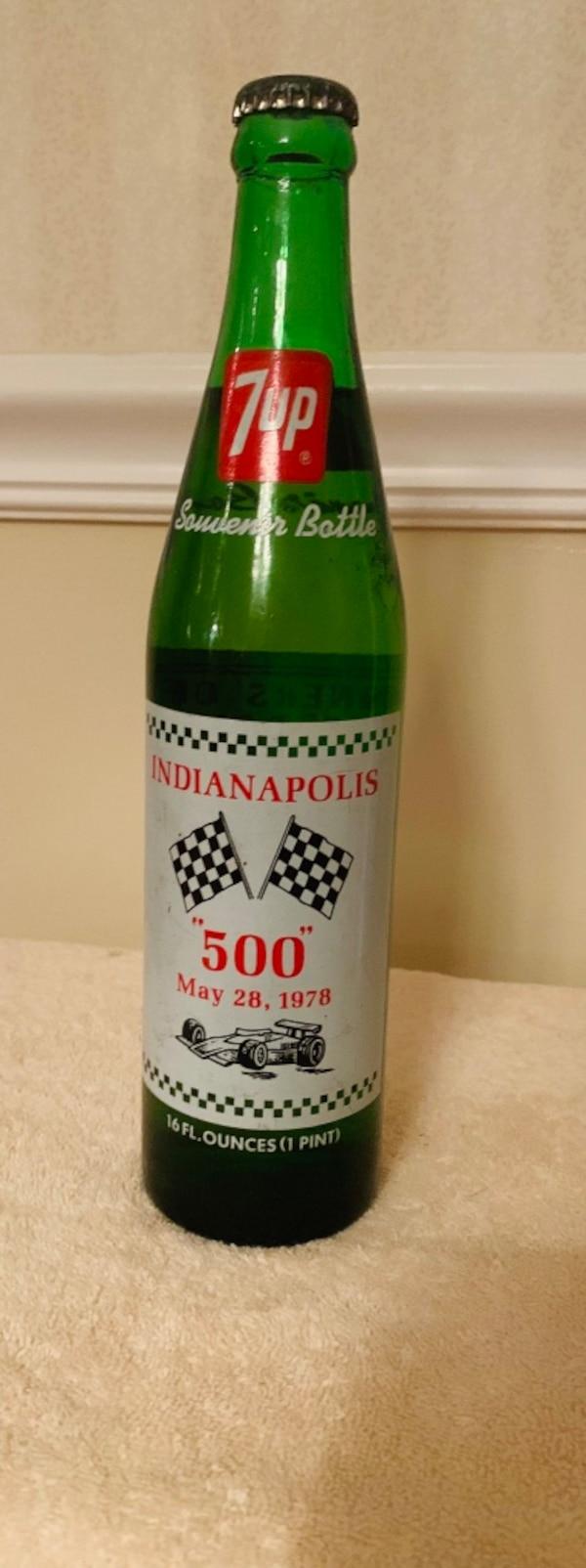 Collectible NASCAR 7up Indianapolis 500 Un-opened Bottle 507136bd-c693-4b42-b49d-ae9d62502b13