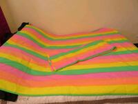 Neon striped curtains, two panels in great shape Stony Plain