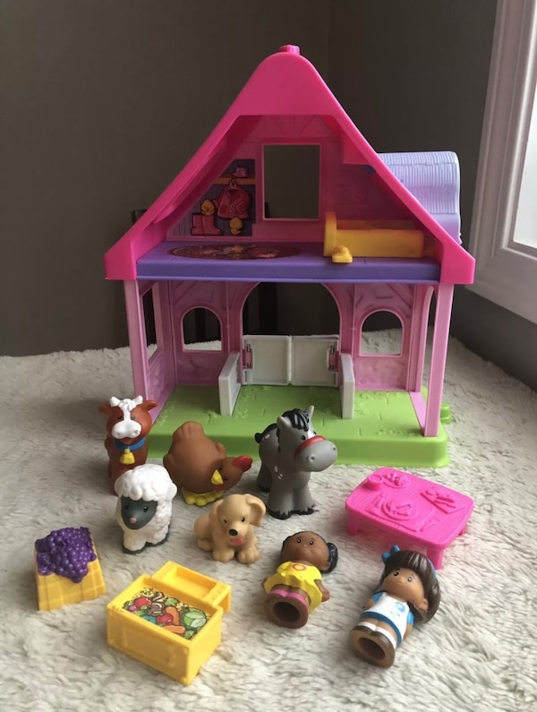 Fisher Price Little People Pony Horse Stable Pink Cottage Farm House