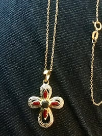 Diamond embellished Gold over Silver  cross pendant necklace / 925 Made in Italy chain Alexandria, 22311