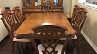 brown wooden dining table set with hutch Milton, L9T