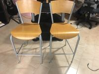 2 counter height wooden chairs