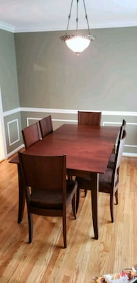 rectangular brown wooden table with six chairs dining set Manassas