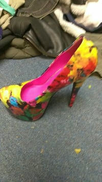 unpaired yellow, pink, and teal floral platform heels Arlington, 76014