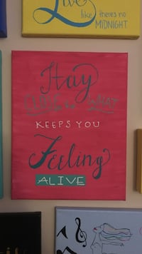 pink and teal Stay close to what keeps you feeling alive poster