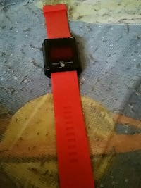square black smartwatch with red band Alexandria, 22304