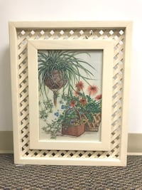 Vintage White Wooden Lattice Frame with Floral Picture Baltimore