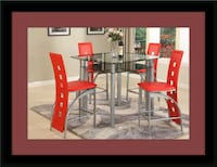 Red counter height with 4 chairs Bowie