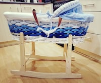 baby's white and blue wooden bassinet Birmingham, B33 8TX