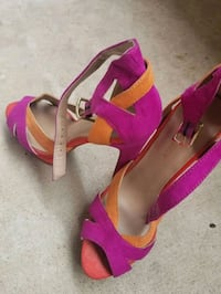 pair of pink open-toe ankle strap heels Tempe