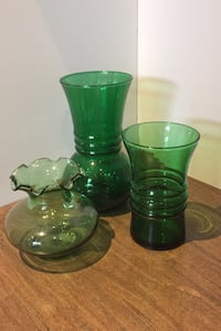 Green glass vase decor
