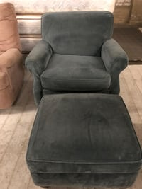 gray suede sofa chair with ottoman