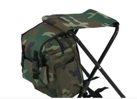 Camping Backpack Bag with Folding Chair Stool for Hiking Hunting Fishi