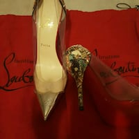 pair of louboutin perspex pointed-toe pumps