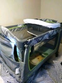 baby's gray and blue travel cot 46 km