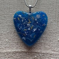 Blue heart pendant with silver flakes and dandelion seeds Dallas, 75240