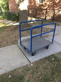 Blue and gray flat bed trolley/ Heavy Duty