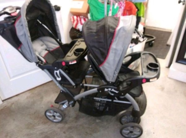 Sit N Stand Baby Trend Double Stroller Full Removable Second Seat Recline And Canopy