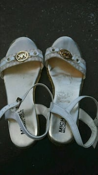 pair of white leather open-toe sandals Holiday