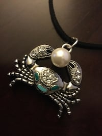"""Large Crab pendant necklace / Leather chain 18 """" inch long / New fashion jewelry  Alexandria, 22311"""