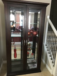 Brown wooden display cabinet brand new bought for $1100  two months ago Edmonton, T5Z