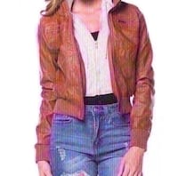 New zenana outfitters tan leather jacket size small. Colton, 92324