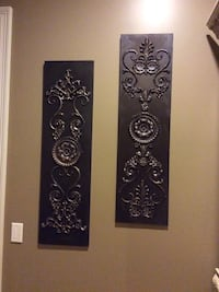 two black wooden floral embossed wall decor