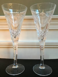 Pair of Waterford Crystal Millennium Collection PEACE Toasting Flutes Cheshire