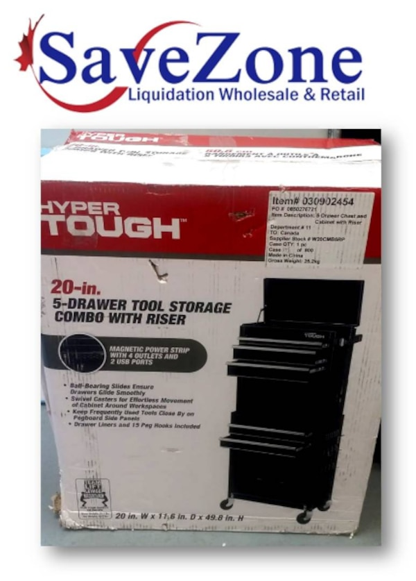 New- Hyper Tough 20 in 5-drawer tool storage combo with riser