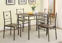 5 piece brushed silver and dark bronze dining set San Diego, 92145