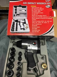"""1/2"""" Air Impact Wrench Kit With Sockets SAE w/ Case Automotive Compressor Tools Buena Park"""