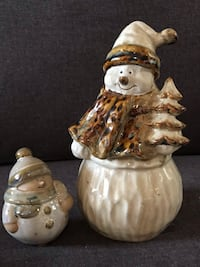 Glazed and fired ceramic snowman with two children Nicholasville, 40356