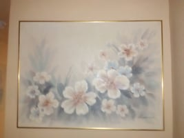 white-and-pink flowers painting