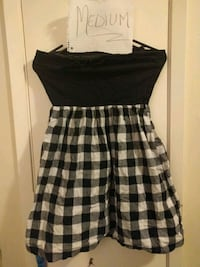 black and white plaid strapless dress 480 km