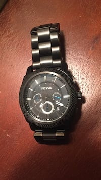 Round black chronograph watch with link bracelet Atwater, 95301