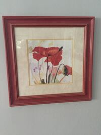 """Flower print with wooden frame and glass. 22""""X 22""""."""