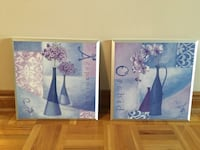 two white and blue flower paintings Toronto, M2J