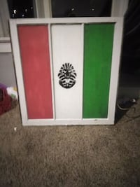 Mexico Flag with skull Painted on old window Kansas City, 64117