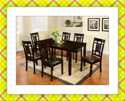 Solid wood  dining table set 7pc