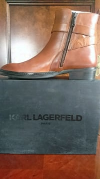 Karl Lagerfeld Paris Men's Buckled Leather Ankle Boots US 11/EU44 Cogn