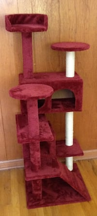 Cat Tree Tower Condo Furniture Scratch Post Kitty Pet House Play Wine (Color: Wine red) Northglenn